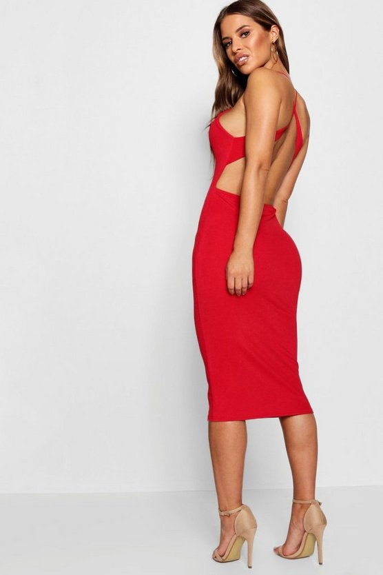 Petite Cross Back Detail Midi Dress