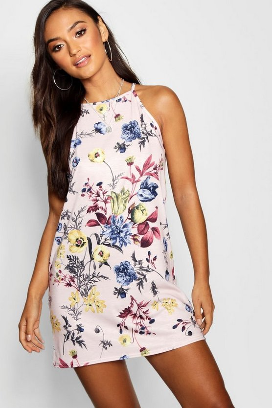 Womens Pink Petite Floral Strappy Mini Dress