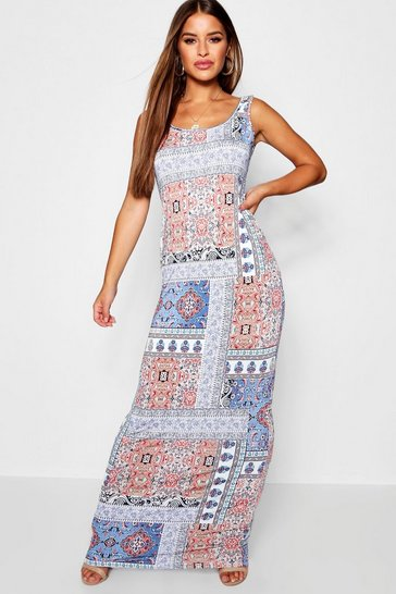 Womens White Petite Scoop Neck Bohemian Print Maxi Dress