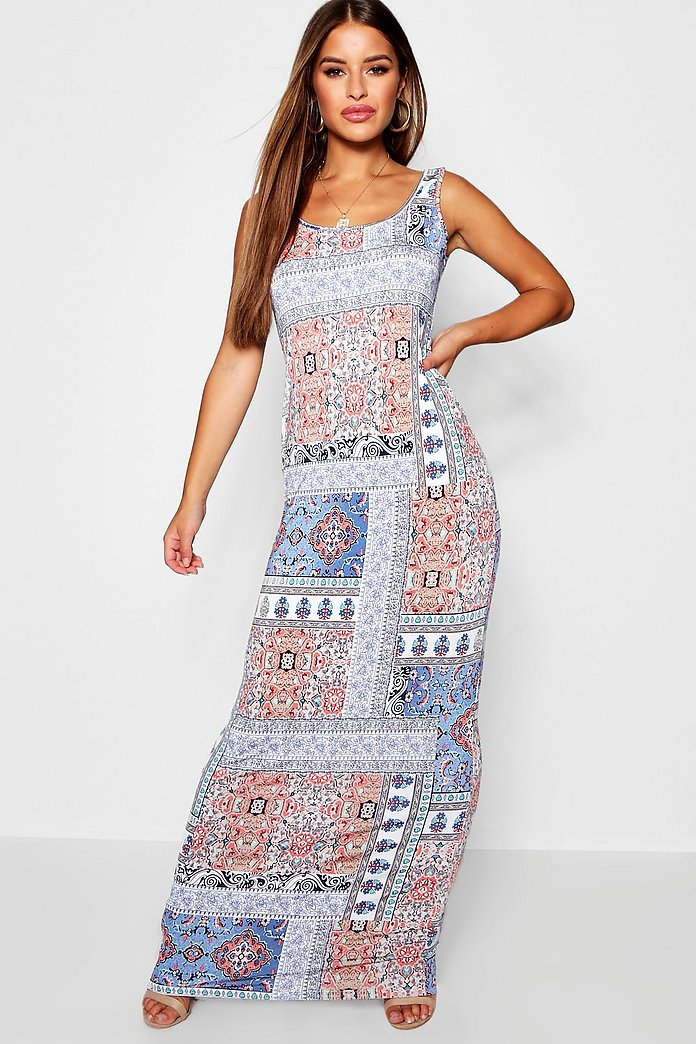 fast delivery super popular affordable price Petite Scoop Neck Bohemian Print Maxi Dress | Boohoo