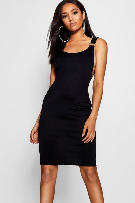 Womens Petite D-Ring Split Midi Dress
