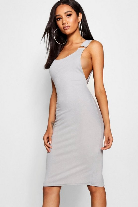 Petite D-Ring Split Midi Dress