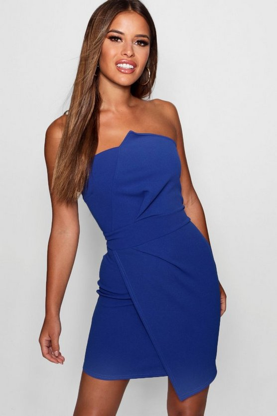 Petite Bandeau Folded Detail Bodycon Dress