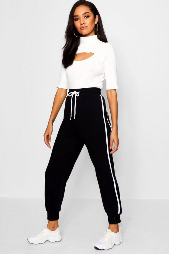 Petite Side Stripe Fleece Jogger