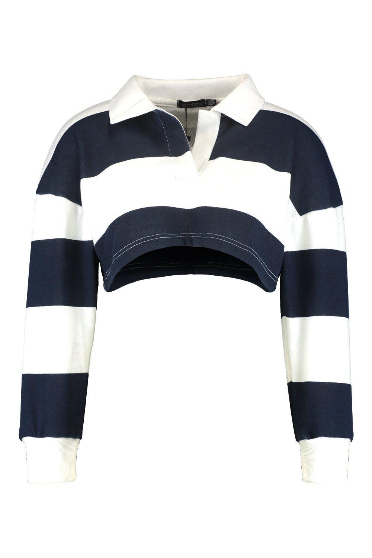 marino Petite Top a rugby Azul rayas corto de xRaAp0w87q