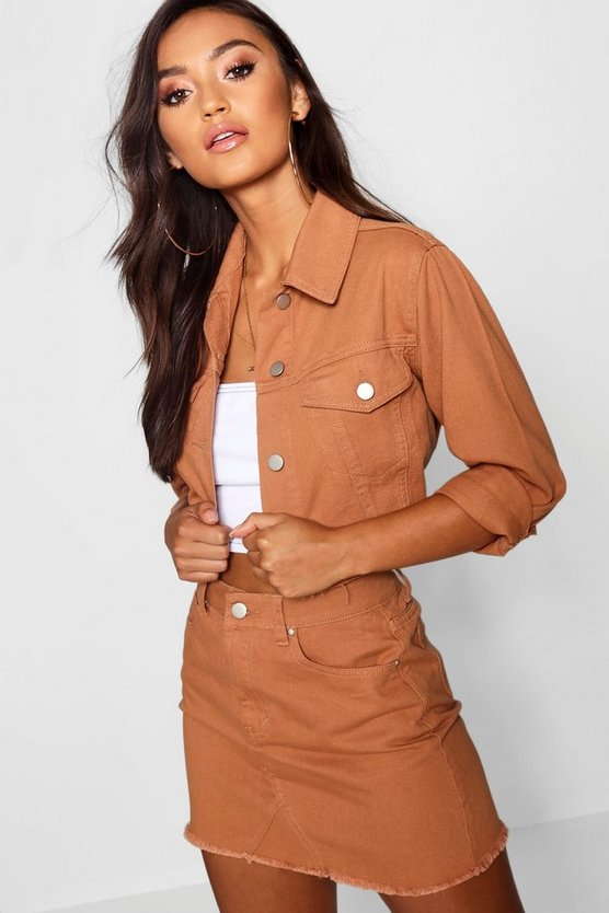 Womens Tan Petite Cropped Trucker Jacket