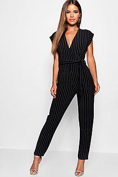 60s Shoes, Boots | 70s Shoes, Platforms, Boots Petite Pinstripe Wrap Over Jumpsuit $50.00 AT vintagedancer.com