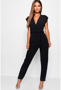 Womens Black Petite Pinstripe Wrap Over Jumpsuit