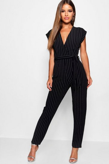 Black Petite Pinstripe Wrap Over Jumpsuit