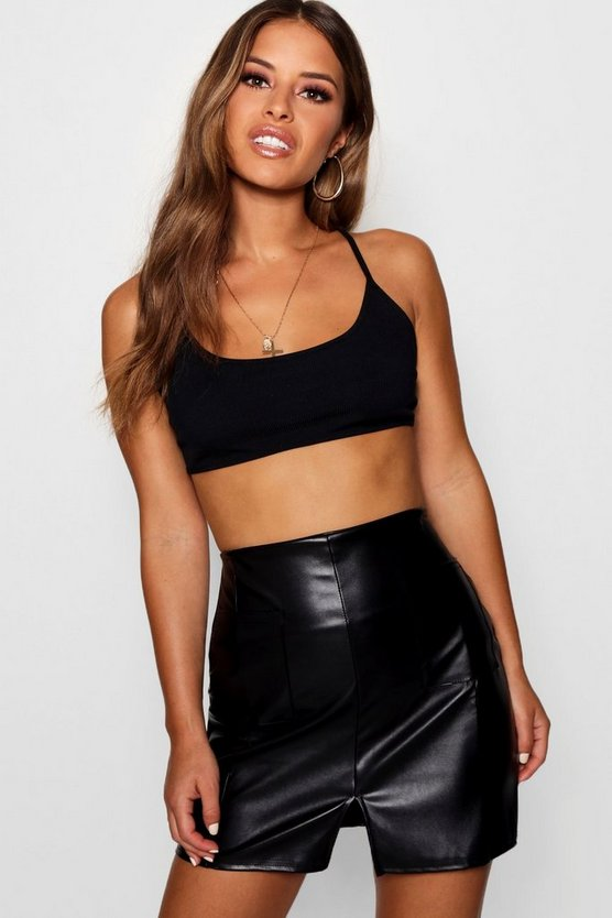 Petite PU Pocket Front Mini Skirt