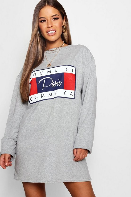 Petite Lightweight Slogan Sweat Dress