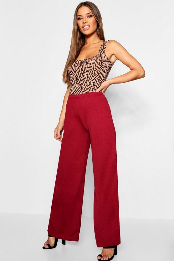 Womens Berry Petite Wide Leg Crepe Trouser