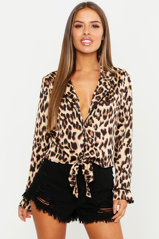 por nudo satén delante en Petite estampado leopardo Camisa leopardo de con 1gwxET