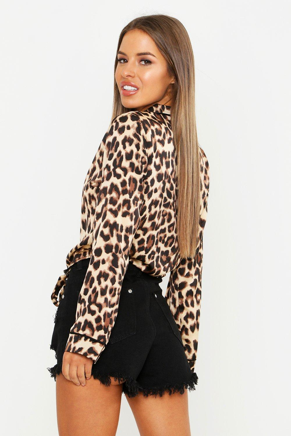 8e2c417a7ae14a Boohoo Womens Petite Leopard Print Satin Tie Front Shirt in Leopard size 0