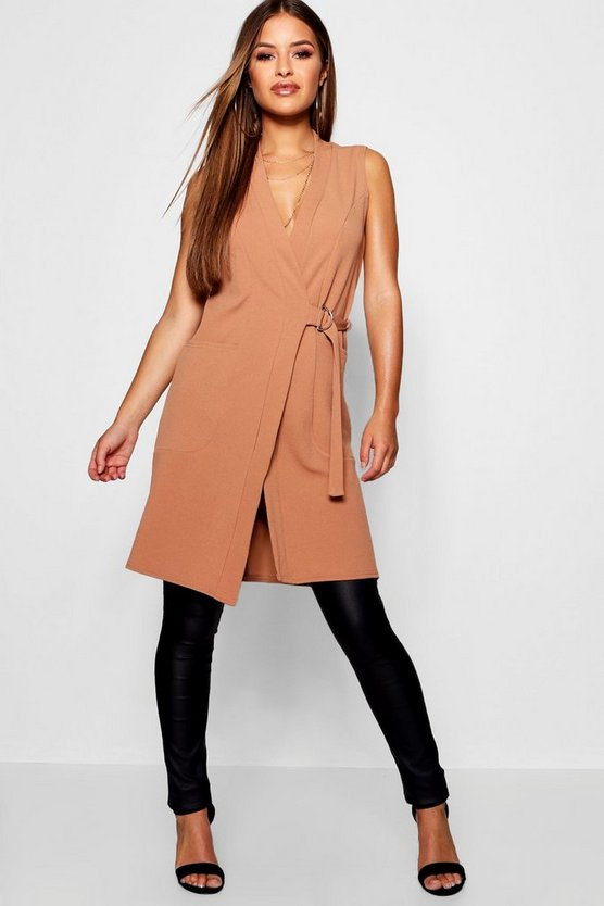 Womens Camel Petite D-Ring Detail Sleeveless Duster