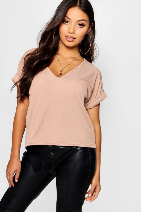 Womens Sand Petite Oversized Ribbed T-shirt