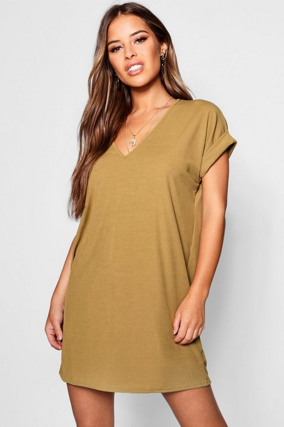 Petite Oversized Ribbed T-shirt Dress