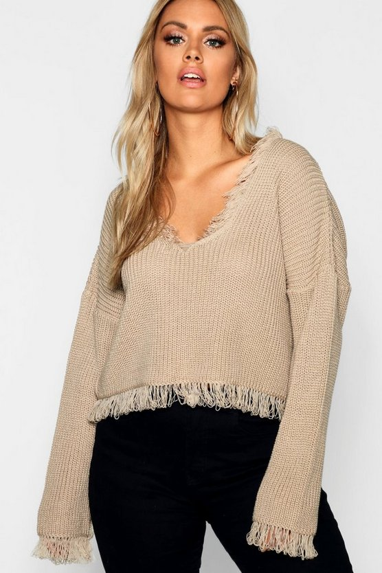 Plus Raw Hem Oversized Jumper