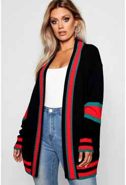 Womens Black Plus Contrast Stripe Oversized Cardigan