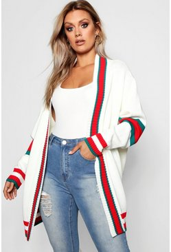 Womens Ivory Plus Contrast Stripe Oversized Cardigan