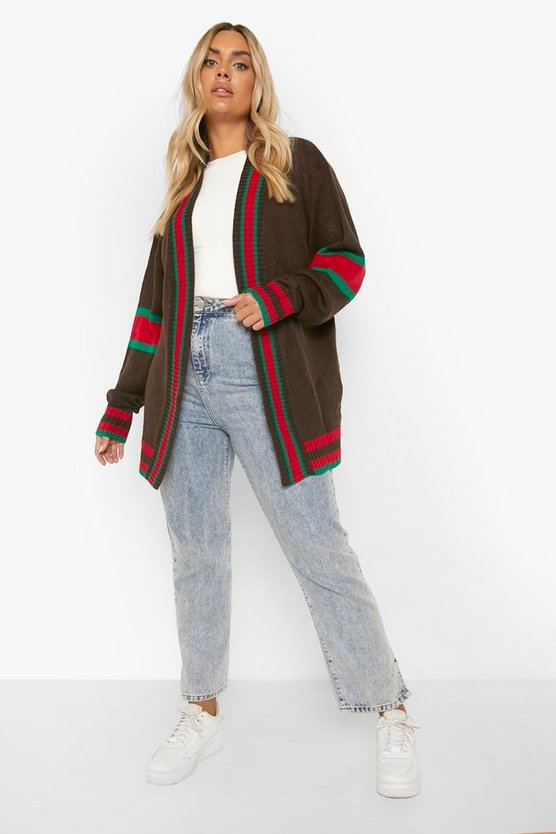 Womens Mocha Plus Contrast Stripe Oversized Cardigan