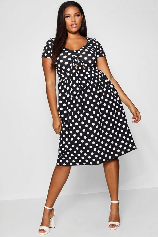 Plus Polka Dot Knot Front Midi Dress