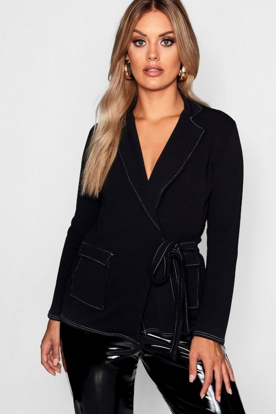 Womens Black Plus Crepe Contrast Stitch Blazer