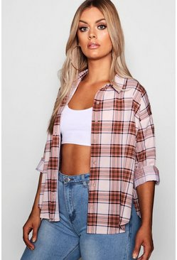 Womens Plus Split Checked Oversized Shirt