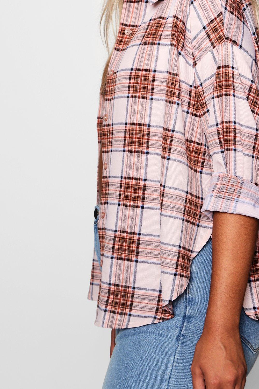ancha abertura marfil a Camisa cuadros Plus con Fvdnxvw14q