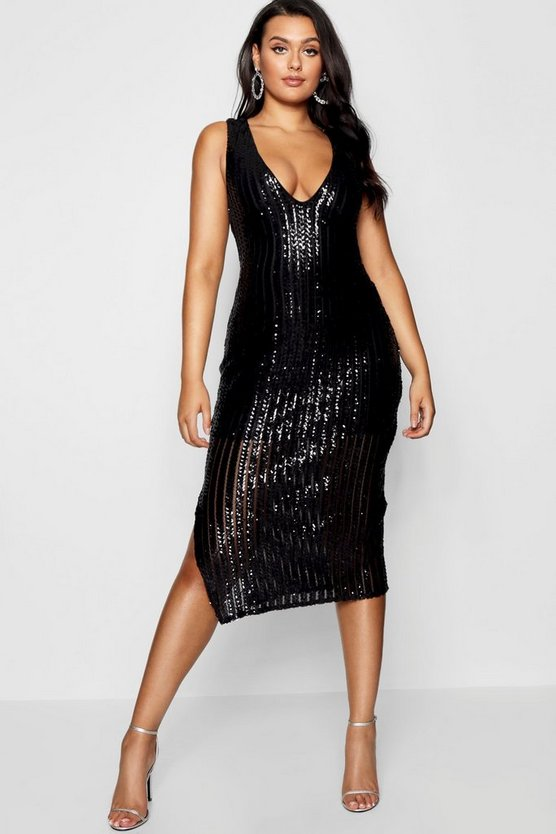 Black Plus Sequin Stripe Midi Dress
