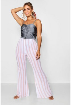 Womens White Plus Pinstripe Beach Trousers