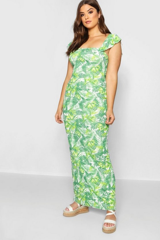 Womens Green Plus Off The Shoulder Ruffle Palm Print Maxi Dress