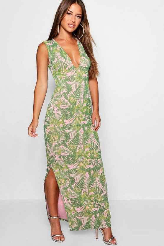 Petite Plunge Front Palm Print Jersey Maxi Dress