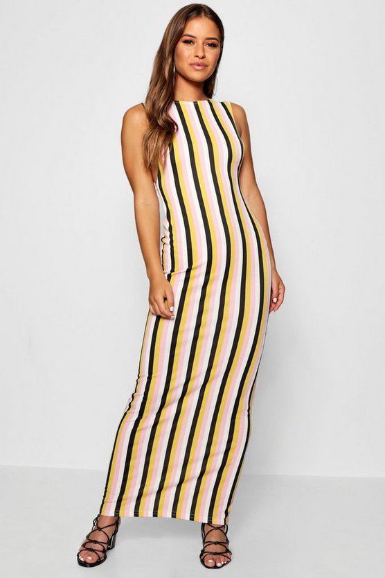 Petite Tonal Stripe Side Boob Maxi Dress