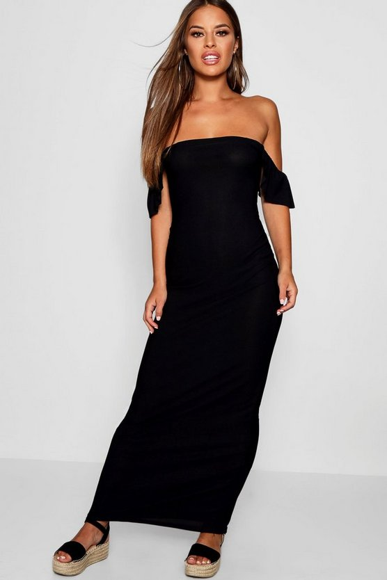 Womens Petite Off The Shoulder Ruffle Jersey Maxi Dress