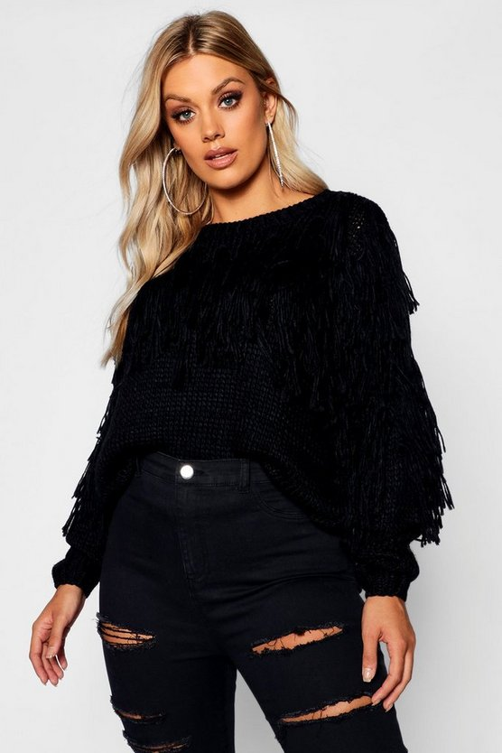 Womens Black Plus Fairisle Tassel Knit Jumper
