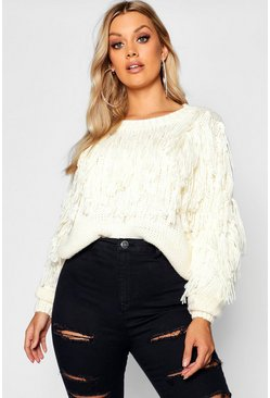 Womens Ivory Plus Fairisle Tassel Knit Jumper
