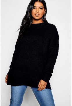 Plus Oversized Boyfriend-Strickpullover, Schwarz, Damen