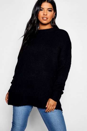 Womens Black Plus Oversized Knit Boyfriend Jumper