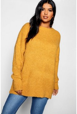 Mustard Plus Oversized Knit Boyfriend Jumper