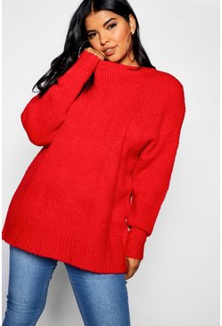 Womens Red Plus Oversized Knit Boyfriend Sweater