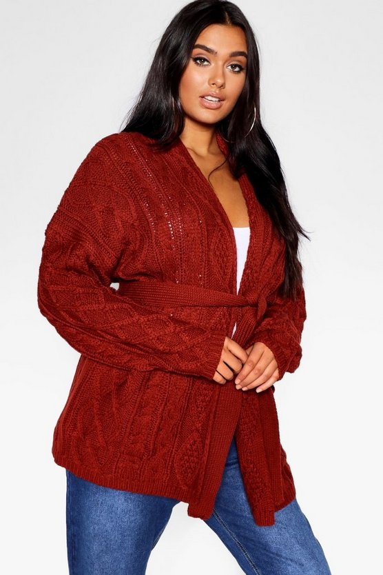 Plus Chunky Cable Boyfriend Cardigan