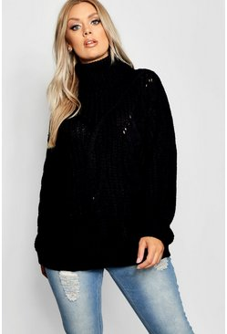 Womens Black Plus Roll Neck Oversized Cable Knit Jumper