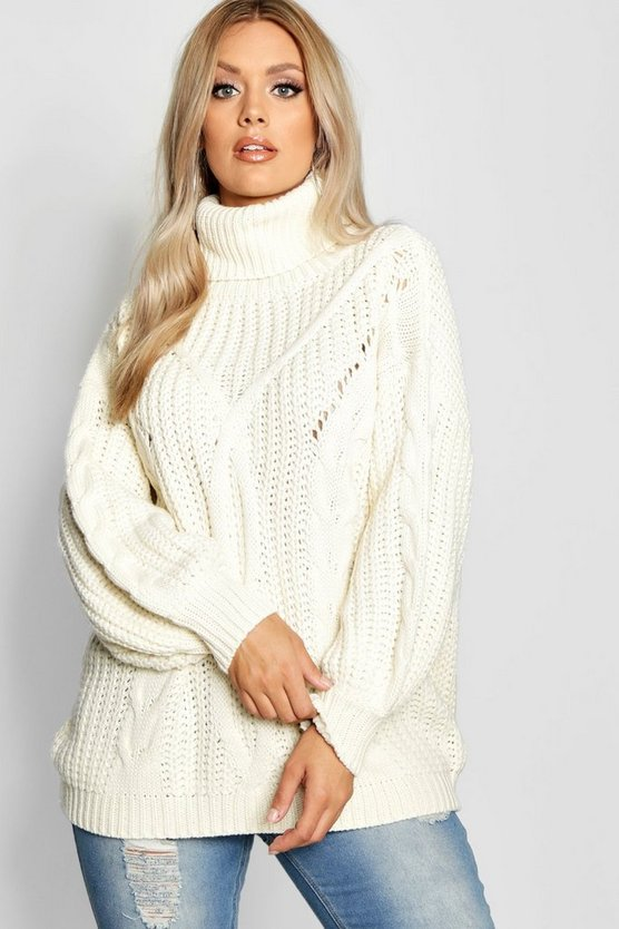 Womens Cream Plus Roll Neck Oversized Cable Knit Jumper