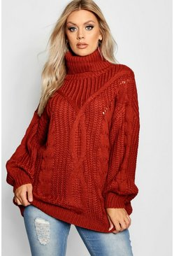 a2432b32adb Plus Roll Neck Oversized Cable Knit Jumper