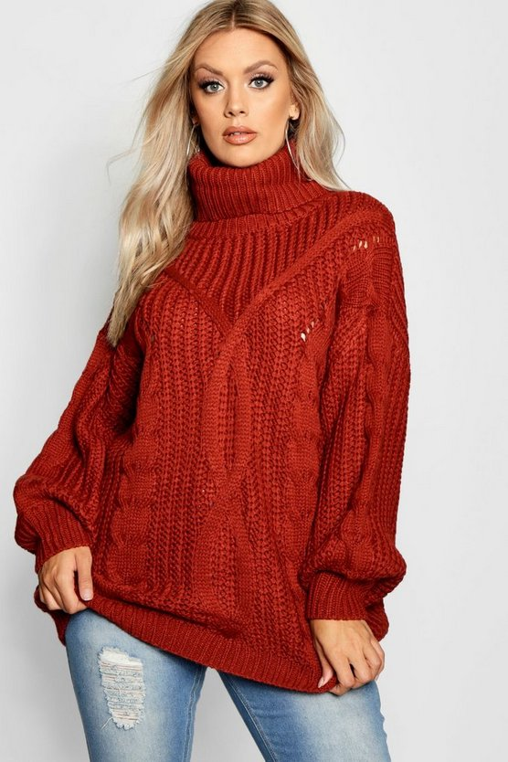 Womens Tobacco Plus Roll Neck Oversized Cable Knit Jumper