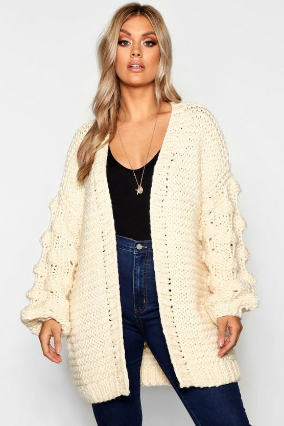 Cream Plus Oversized Hand Knitted Chunky Cardigan