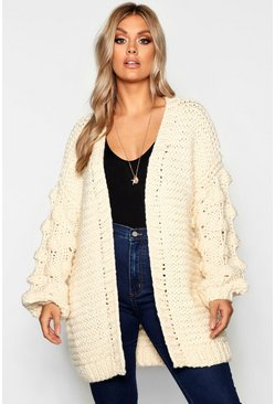 Womens Cream Plus Oversized Hand Knitted Chunky Cardigan