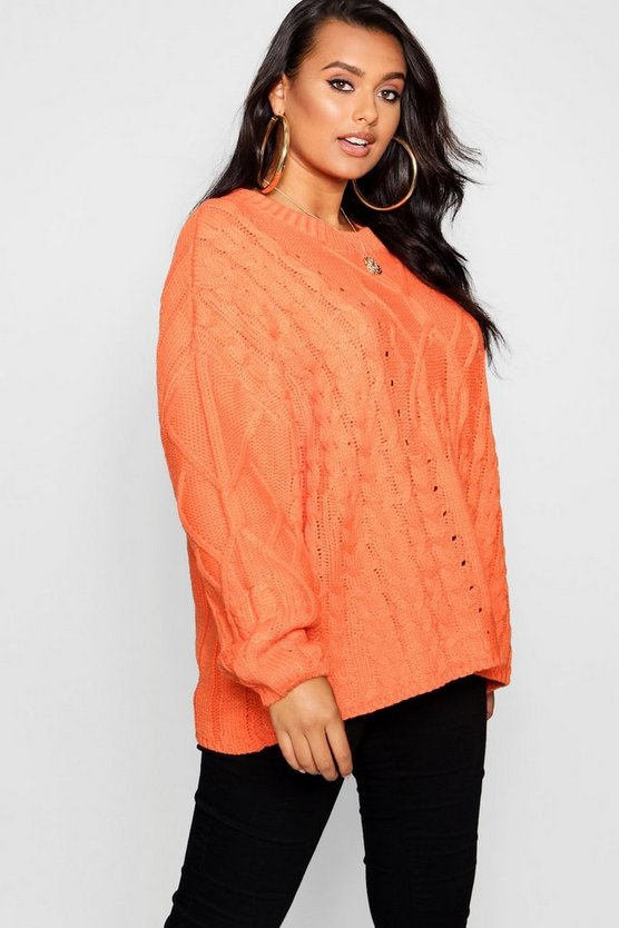 Womens Orange Plus Oversized Cable Knit Balloon Sleeve Sweater