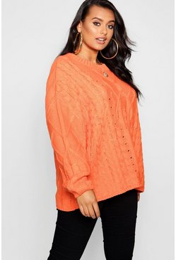 Womens Orange Plus Oversized Cable Knit Balloon Sleeve Jumper